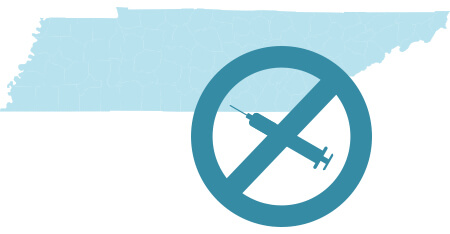 Graphic of the state of Tennessee and a syringe with a circle-backslash symbol over it.