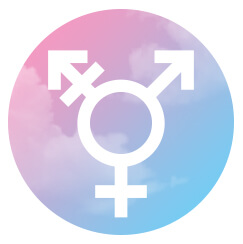Graphic of the transgender symbol and colors.