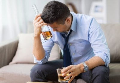 Alcoholic man struggling with isolation